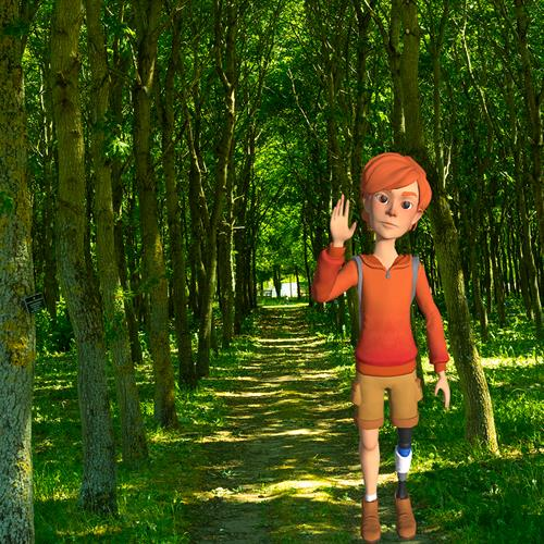 AR Character Sam in the woodland