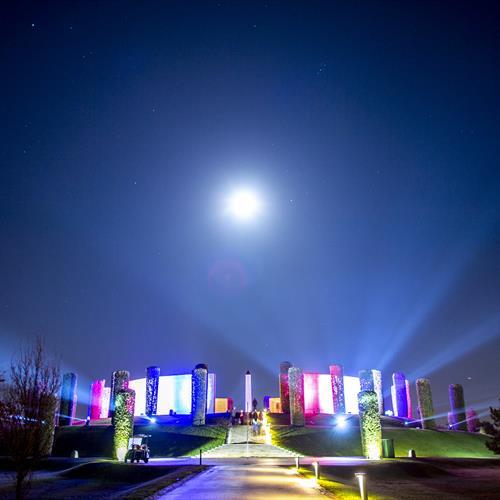 Image of Armed Forces Memorial during Illuminated Arboretum