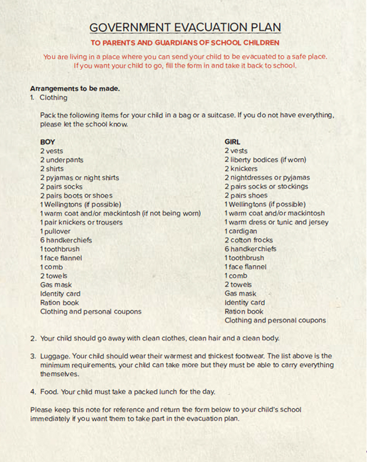 List of items Evacuees could take with them