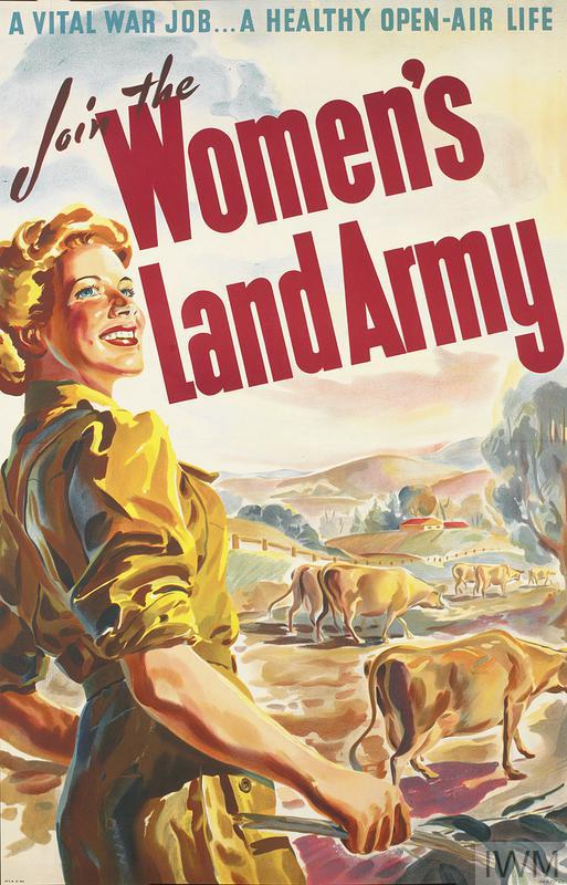 Vintage poster asking people to join the Women's Land Army