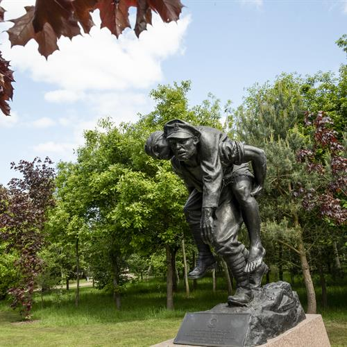 RAMC Memorial Bronze Sculpture. Soldier carrying invalid