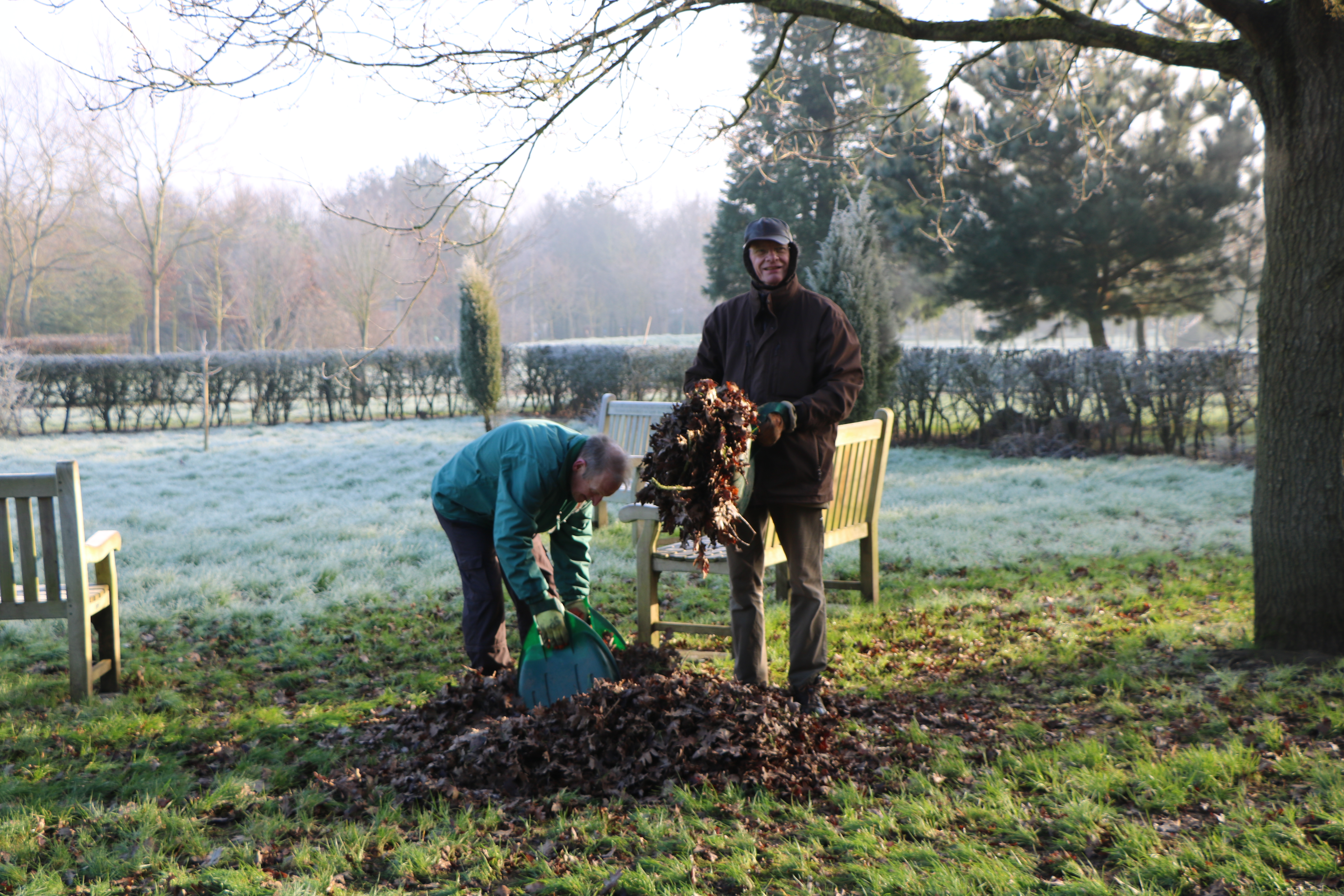 Two volunteers pick up leaves